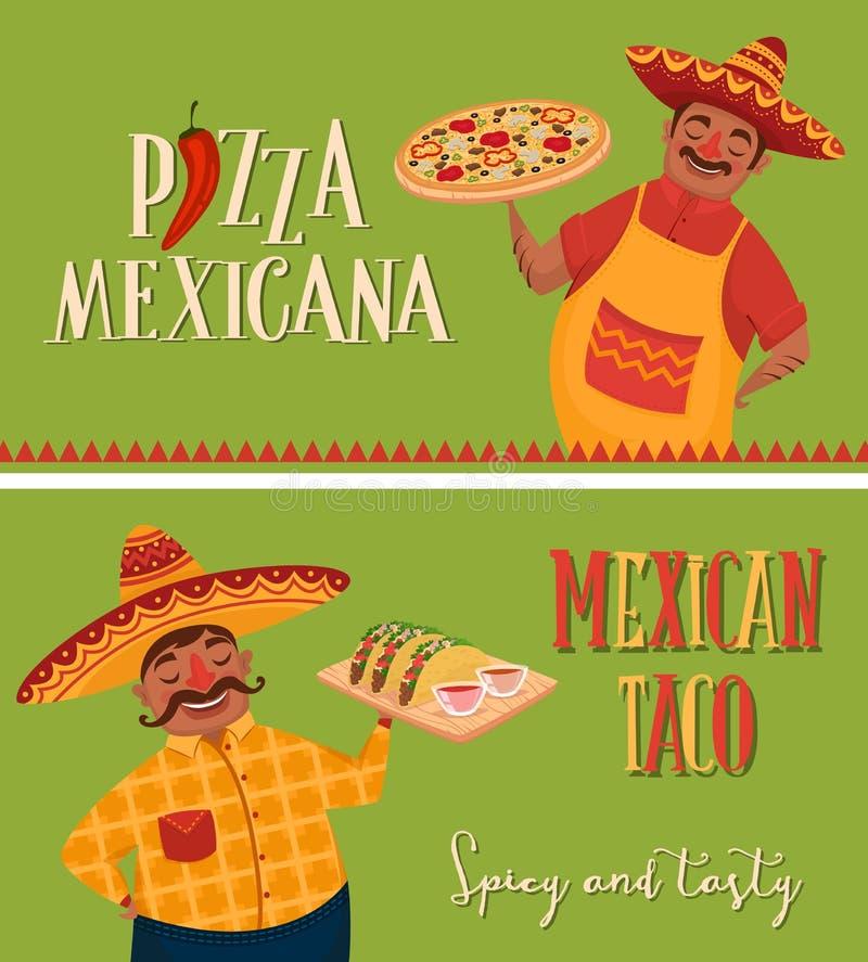 Meksykański jedzenie Szefowie kuchni z pizzą i tacos sztandary ilustracja wektor