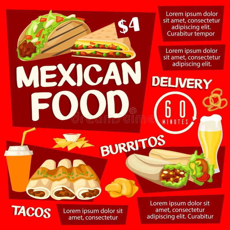 Meksykański jedzenie z taco, burrito i napojami, ilustracja wektor