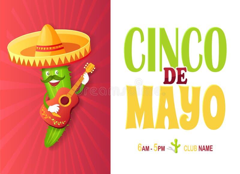 Meksykański kaktus w sombrero, gitarze i wąsy, ilustracja wektor