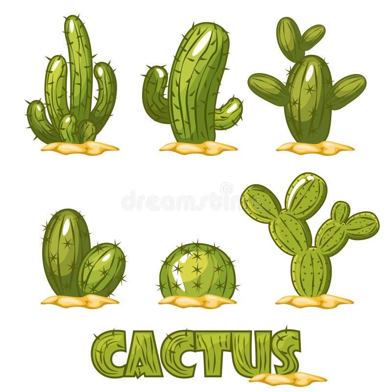 Meksykański kaktusa set, śmieszny komiczne meksykanin pustyni kaktusa rośliny royalty ilustracja