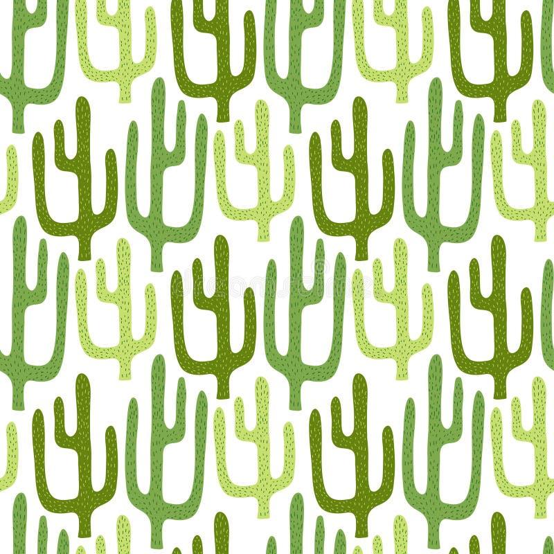 Meksykański kaktusowy bezszwowy wzór Kreskówki wektorowy tło dla tekstylnego druku projekta ilustracja wektor