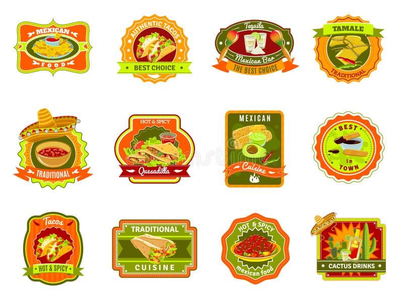 Meksykański Karmowy emblemata set ilustracja wektor