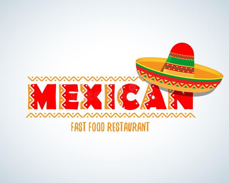 Meksykański karmowy logo Meksykański fasta food logotypu szablon Odosobniony Wektorowy loga projekta szablon ilustracja wektor