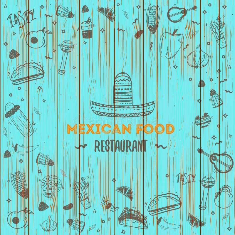 Meksykański karmowy menu szablon Wektorowy vintageillustration dla, plakat onwooden tło z miejscem dla teksta ilustracji