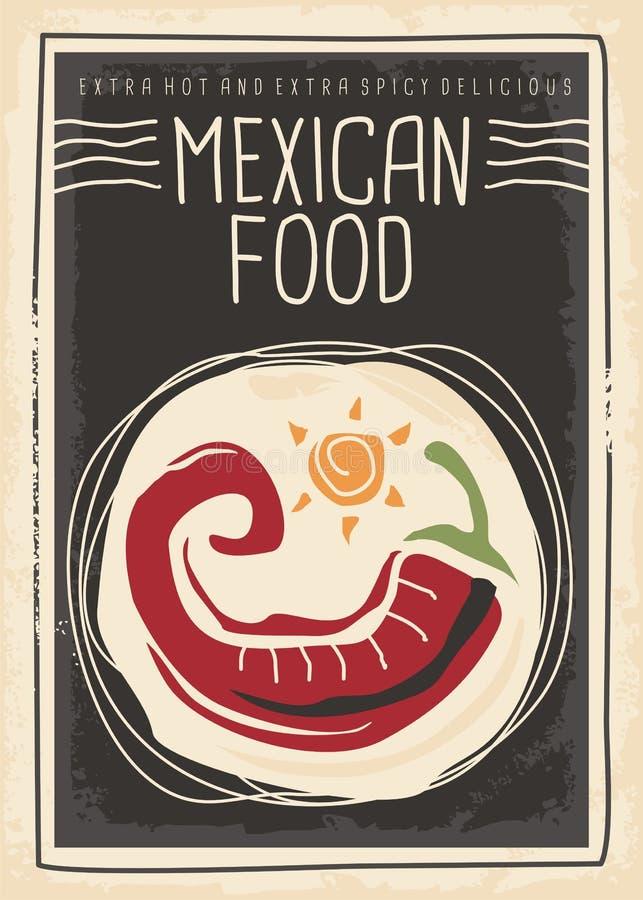Meksykański karmowy menu z czerwonym chili na czarnym tle ilustracja wektor