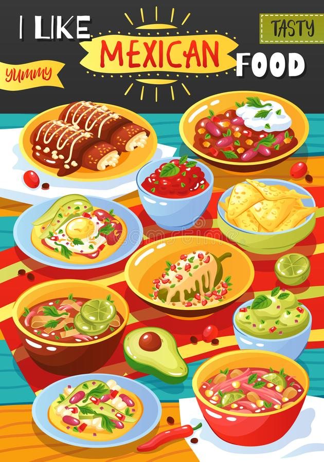 Meksykański Karmowy reklama plakat ilustracja wektor