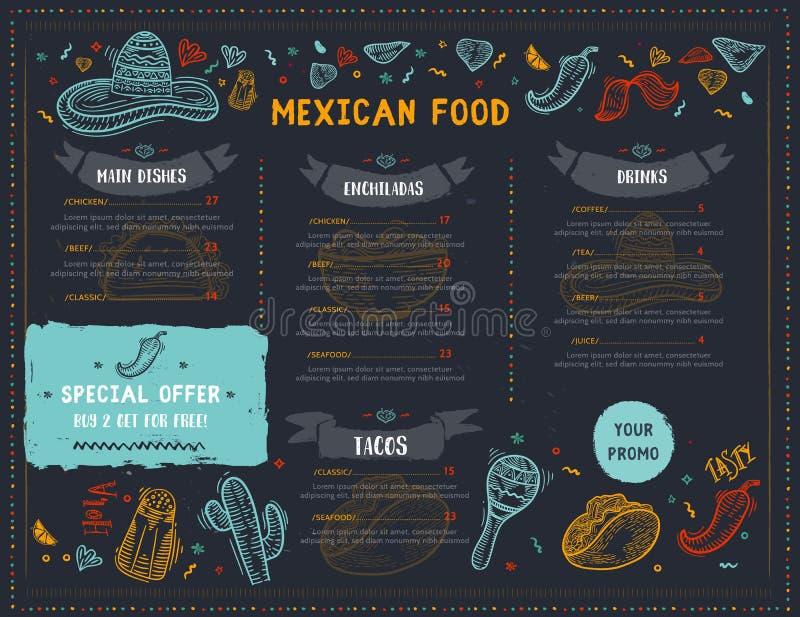 Meksykański Karmowy Restauracyjny menu, szablonu projekt z nakreślenie ikonami Chili pieprz, sombrero, tacos, nacho, burrito royalty ilustracja