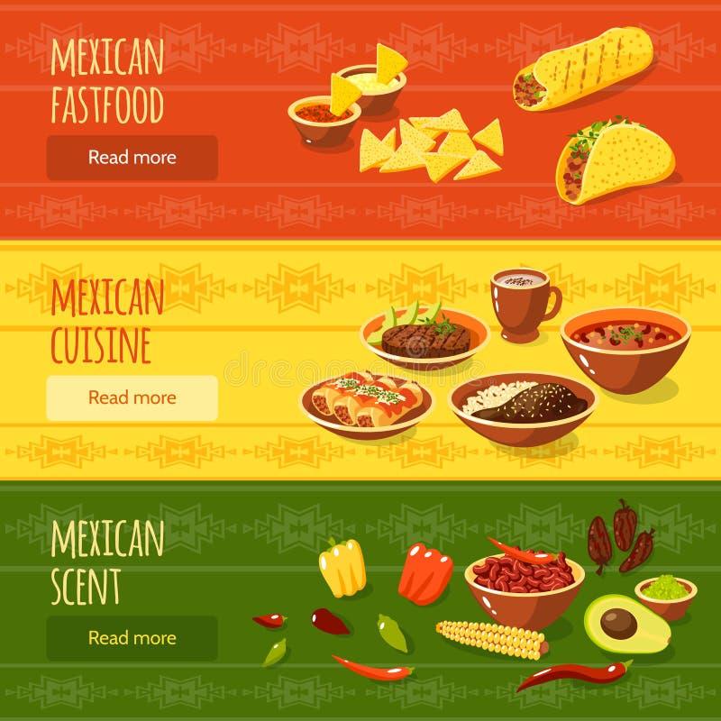 Meksykański Karmowy sztandaru set royalty ilustracja