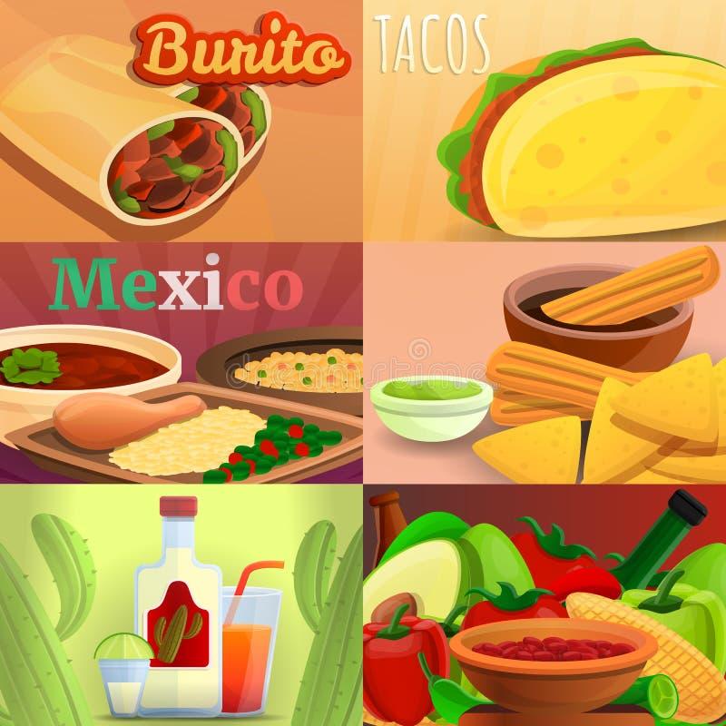Meksykański karmowy sztandaru set, kreskówka styl ilustracji