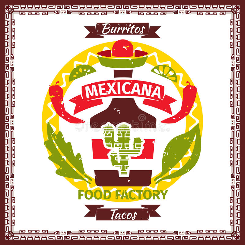 Meksykański karmowy tacos i burritos menu plakat royalty ilustracja