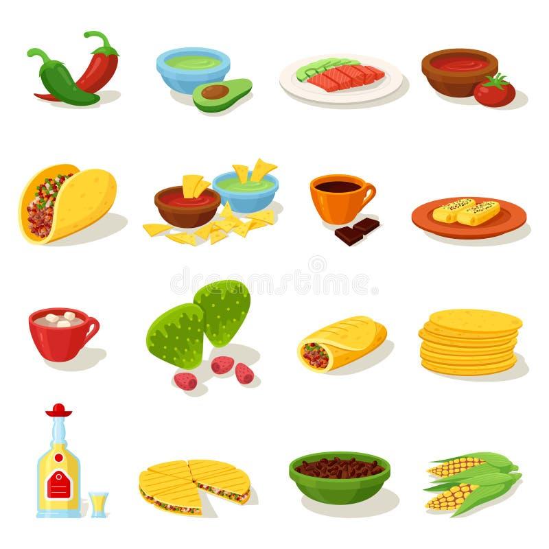 Meksykański karmowy tradycyjny menu ikony set ilustracji