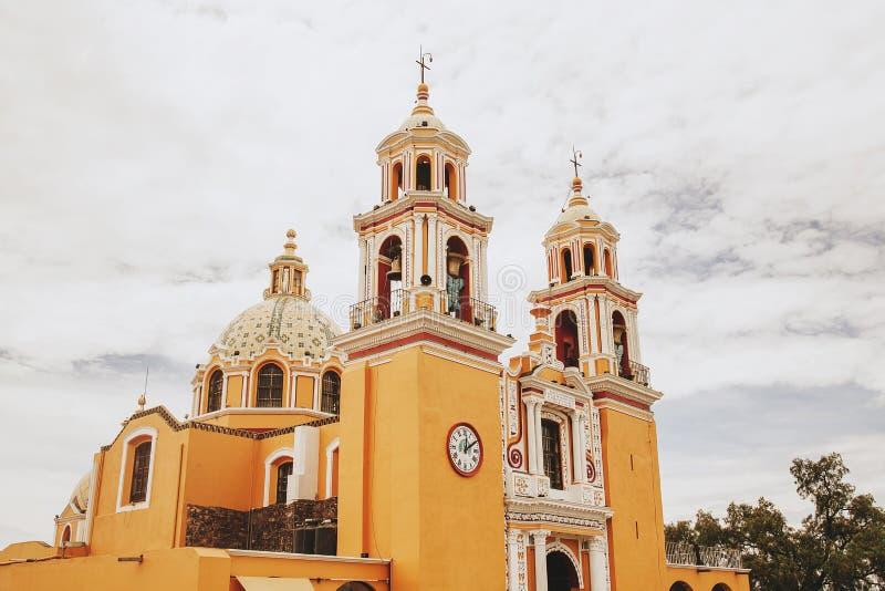 Meksykański kościół, Iglesia Cholula Puebla Meksyk zdjęcie stock