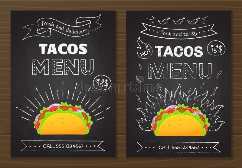 Meksykański kuchni fastfood tacos menu szablon ilustracja wektor