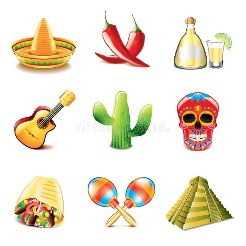 Meksykański kultur ikon wektoru set ilustracja wektor