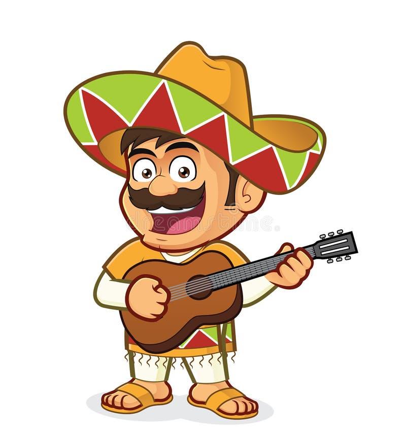 Meksykański mężczyzna Bawić się gitarę ilustracji