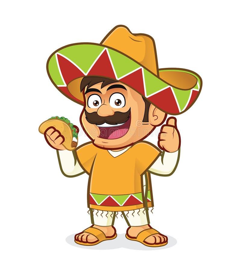 Meksykański mężczyzna trzyma taco royalty ilustracja