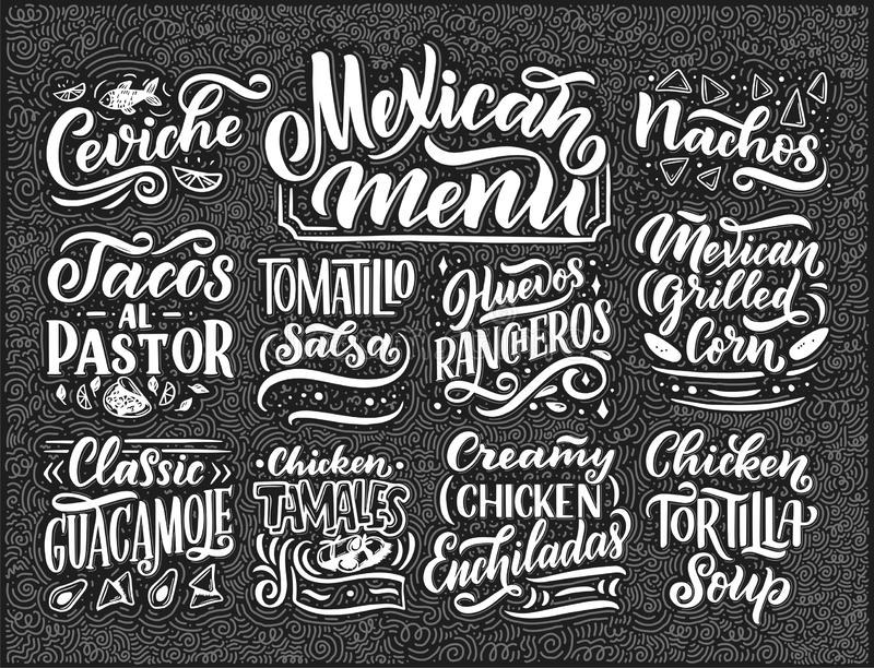 Meksykański menu literowanie z tradycyjnym jedzeniem wymienia Guacamole, Enchilada, Tacos, Nachos i więcej, Wektorowa rocznik ilu ilustracja wektor