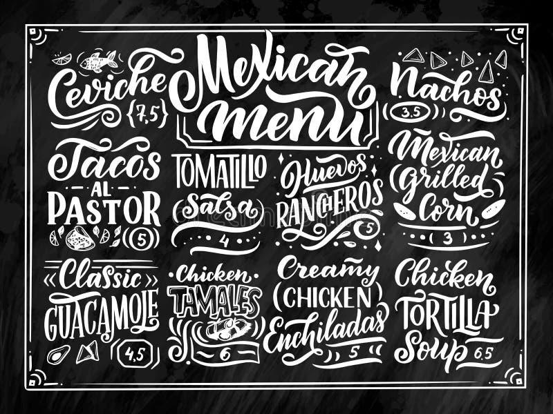 Meksykański menu literowanie z tradycyjnym jedzeniem wymienia Guacamole, Enchilada, Tacos, Nachos i więcej, Wektorowy rocznik royalty ilustracja