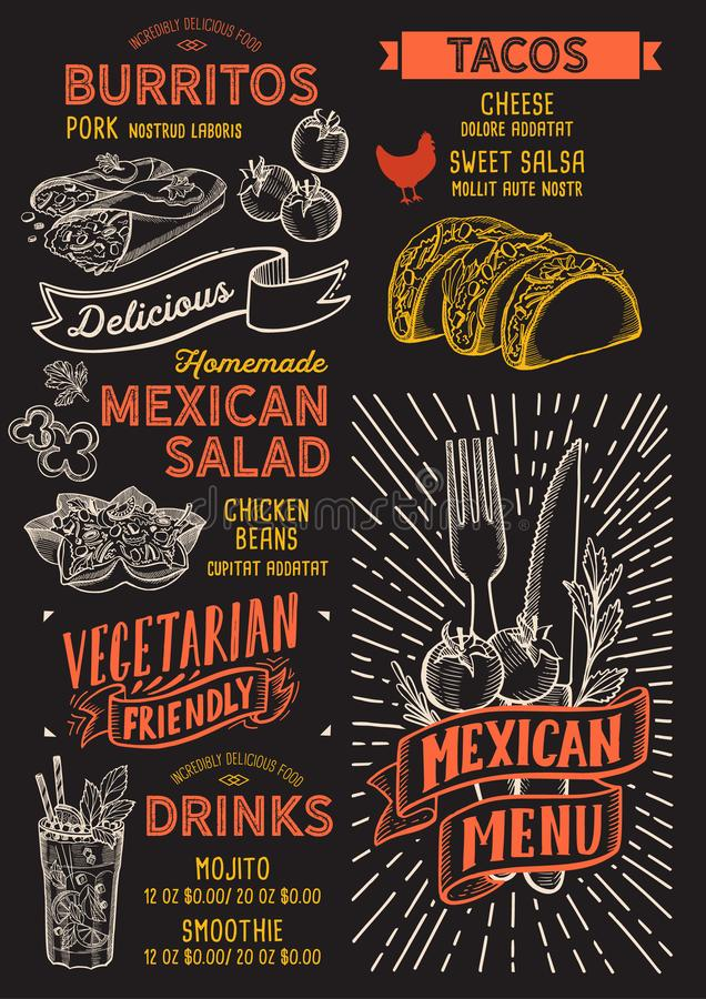 Meksykański menu szablon dla restauraci na blackboard tła wektorowej ilustracyjnej broszurce dla jedzenia i napoju kawiarni Proje ilustracji