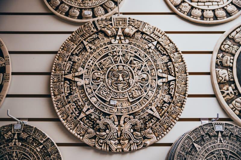 Meksykański ornament azteka słońca bóg dysk fotografia royalty free