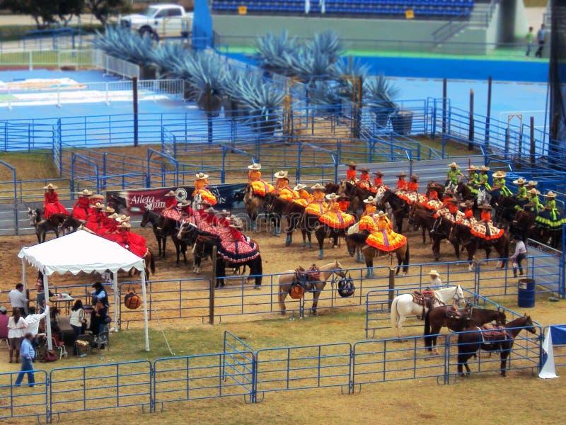 Meksykański przedstawienie kobiety na horseback zdjęcia stock