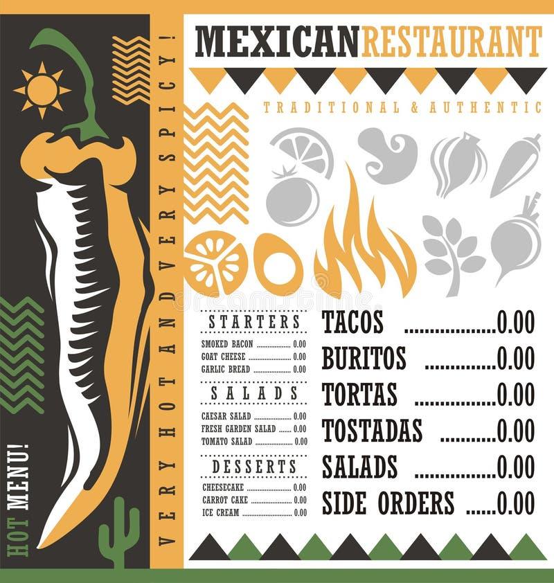 Meksykański restauracyjny menu projekta szablon ilustracja wektor