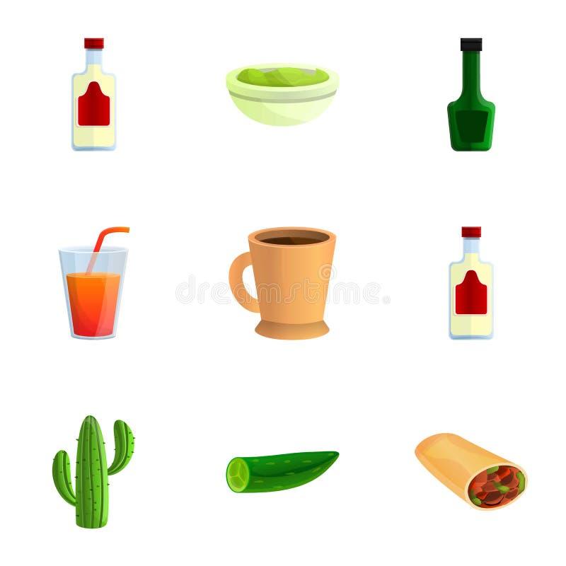 Meksykański smakowity karmowy ikona set, kreskówka styl ilustracja wektor