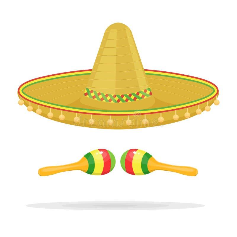 Meksykański sombrero z marakas wektorową ilustracją odizolowywającą na białym tle ilustracja wektor