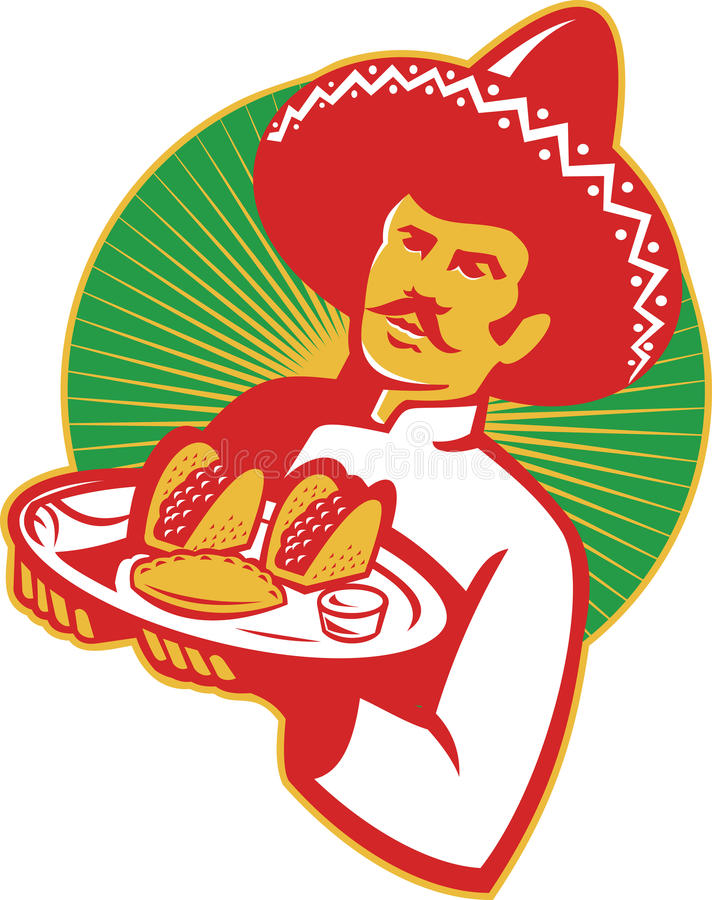 Meksykański szef kuchni porci Taco Burrito Empanada Retro royalty ilustracja