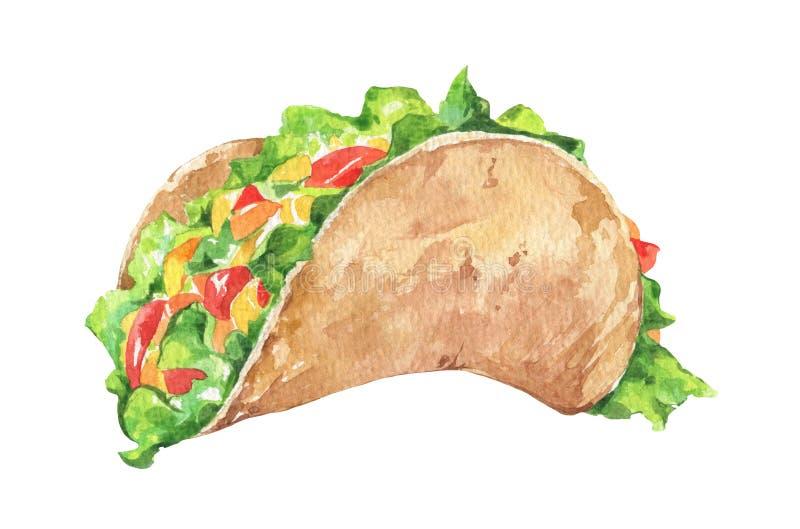 Meksykański Taco z świeżymi warzywami Tradycyjny Meksykański jedzenie ilustracji