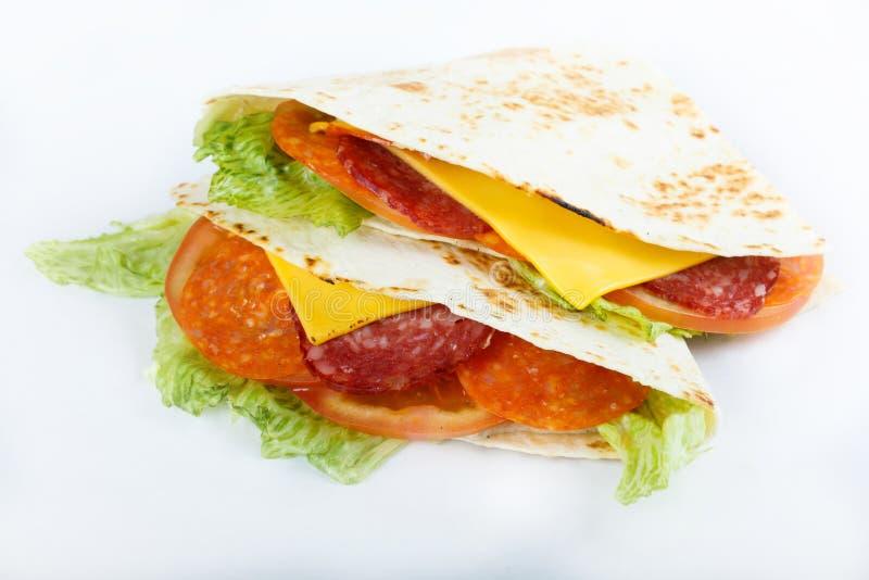 Meksykański tradycyjny jedzenie - quesadillias zamykają up odgórnego widoku menu fotografia fotografia stock