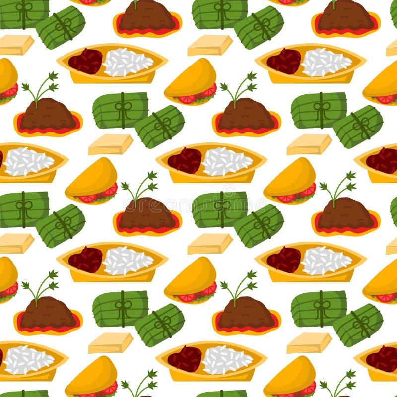 Meksykański tradycyjny jedzenie z mięsnego avocado bezszwowego deseniowego tła salsa lunchu kumberlandu kuchni korzennym pieprzow ilustracja wektor