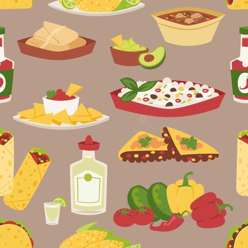 Meksykański tradycyjny jedzenie z mięsnym bezszwowym wzorem ilustracja wektor