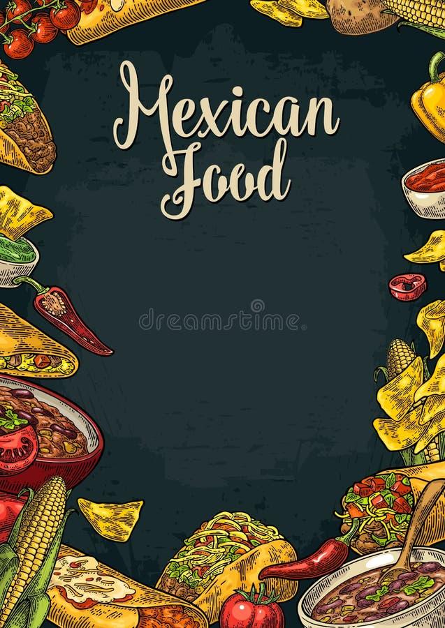 Meksykański tradycyjny karmowy restauracyjny menu szablon z składnikiem royalty ilustracja