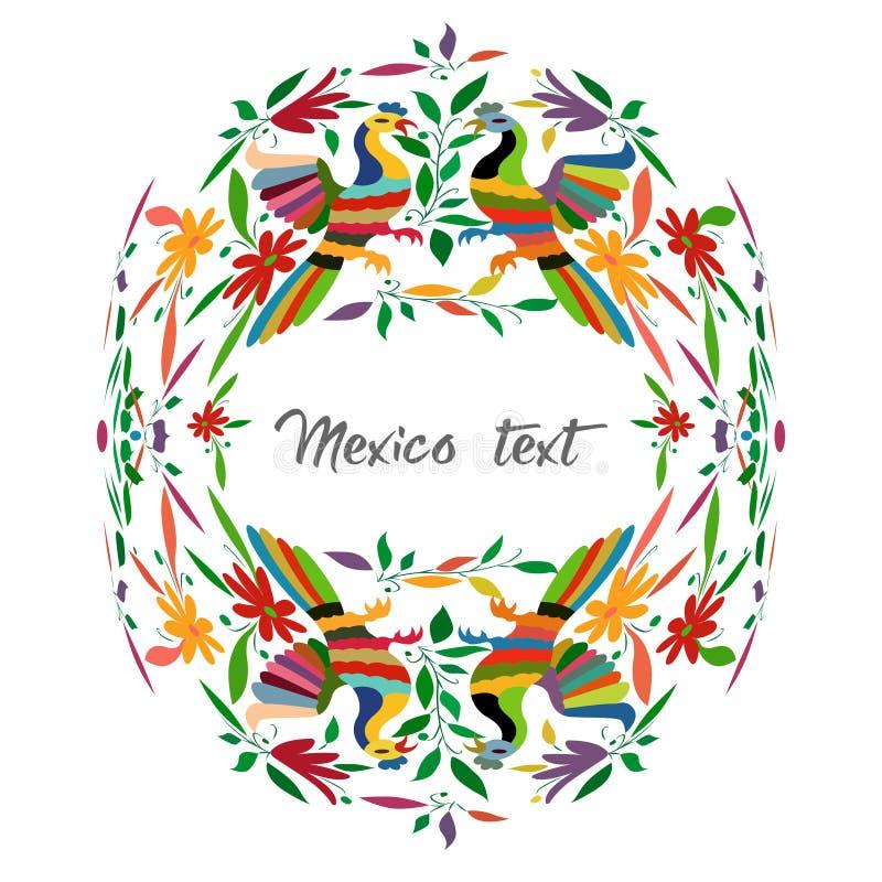 Meksykański Tradycyjny Tekstylny broderia styl od Tenango miasta, hidalgo, México Odbitkowy Astronautyczny Kwiecisty składu  royalty ilustracja