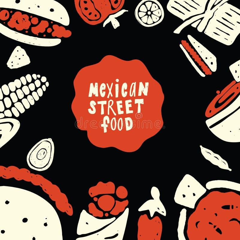 Meksykański Uliczny jedzenie Śmieszna doodle ilustracja z karmowymi elementami, robić w wektorze Menu szablon ilustracja wektor