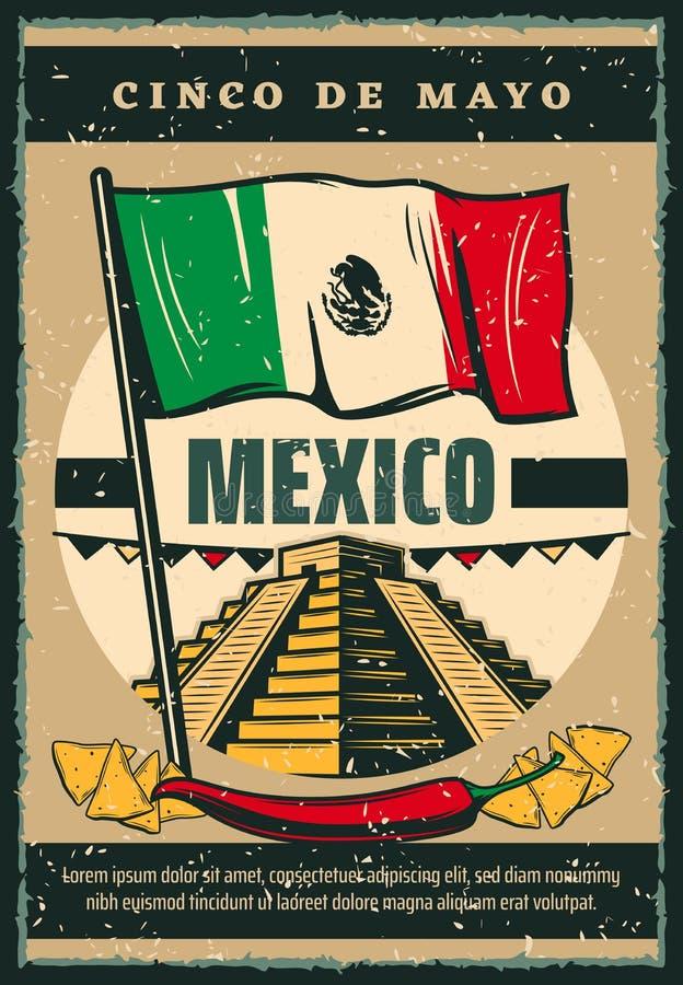 Meksykański wakacyjny Cinco de Mayo nakreślenia wektorowy plakat ilustracja wektor