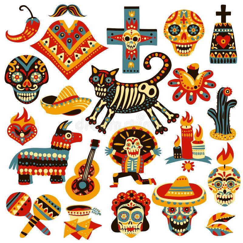 Meksykański Wakacyjny dzień nieboszczyka set ilustracja wektor
