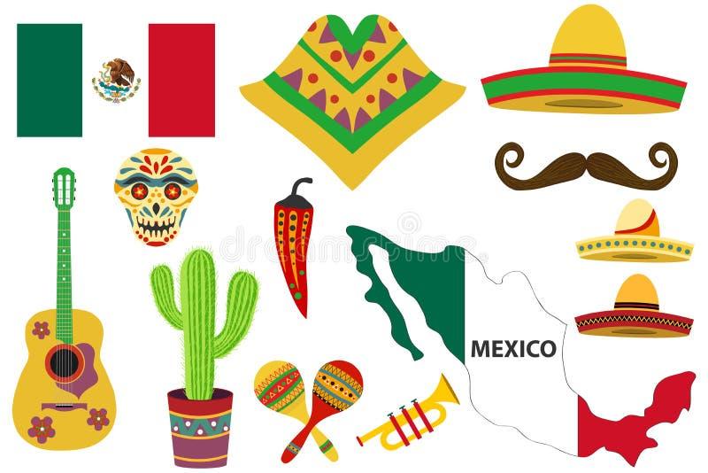 Meksykański wakacyjny dzień nieboszczyka set, etniczna muzyka i taniec, dekoracyjne maski royalty ilustracja