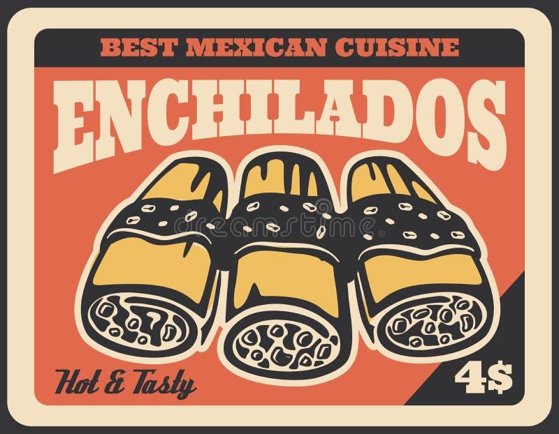 Meksykańskie enchilada kanapki Fast food ilustracji