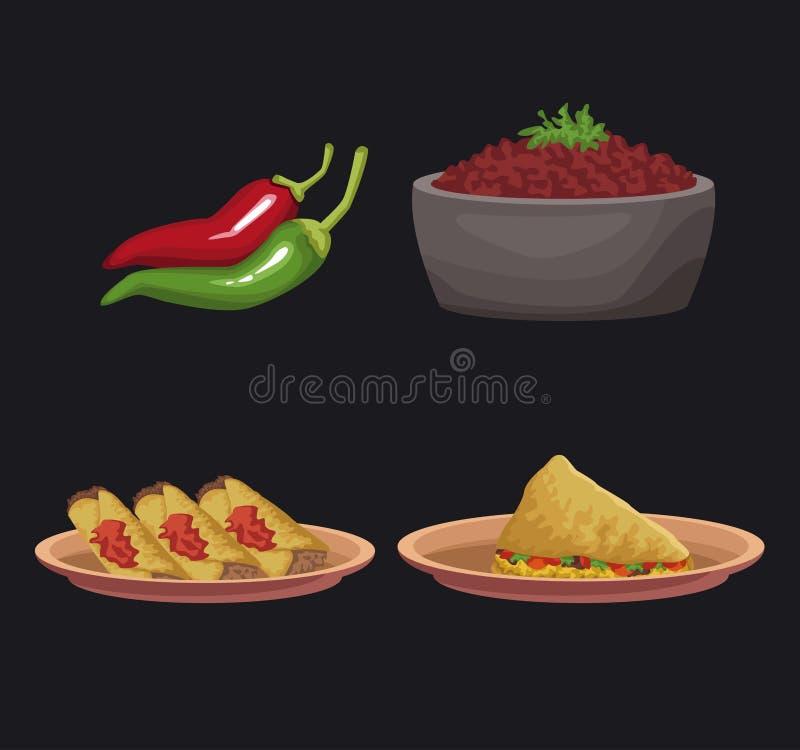 meksykańskie ikony żywności royalty ilustracja