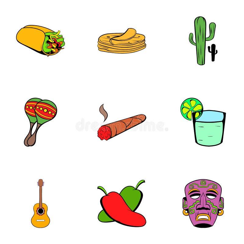 Meksykańskie ikony ustawiać, kreskówka styl ilustracji