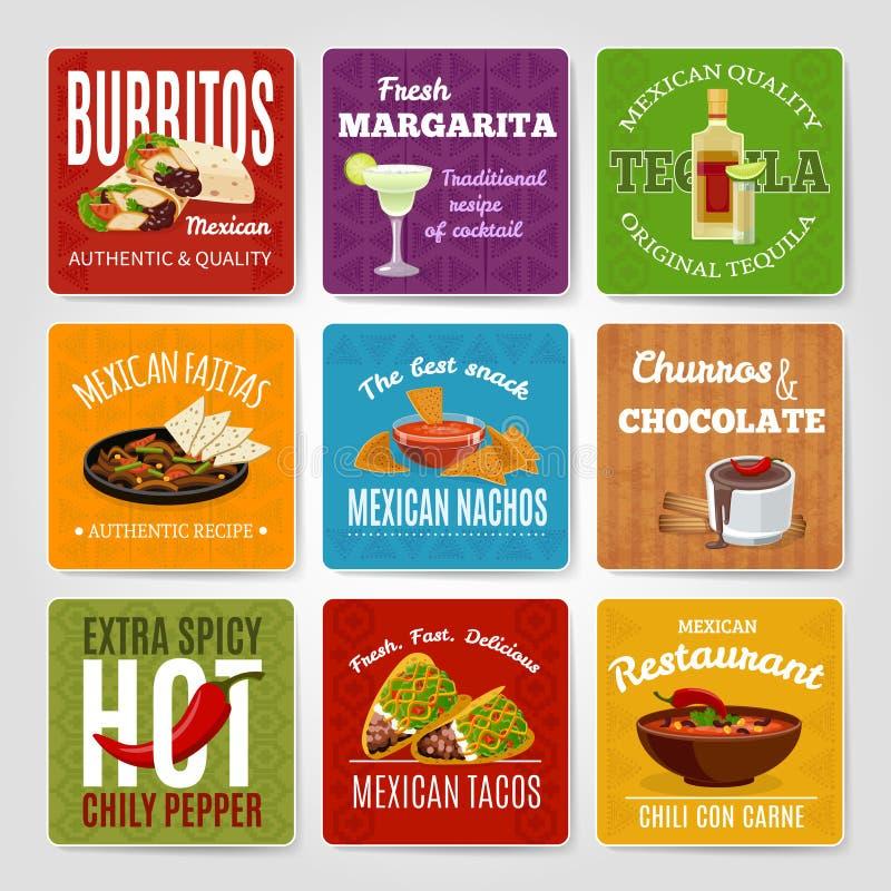 Meksykańskie jedzenie etykietki Ustawiać ilustracji