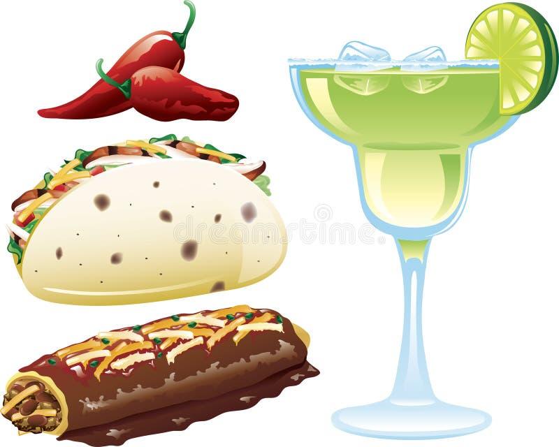 meksykańskie karmowe ikony ilustracja wektor