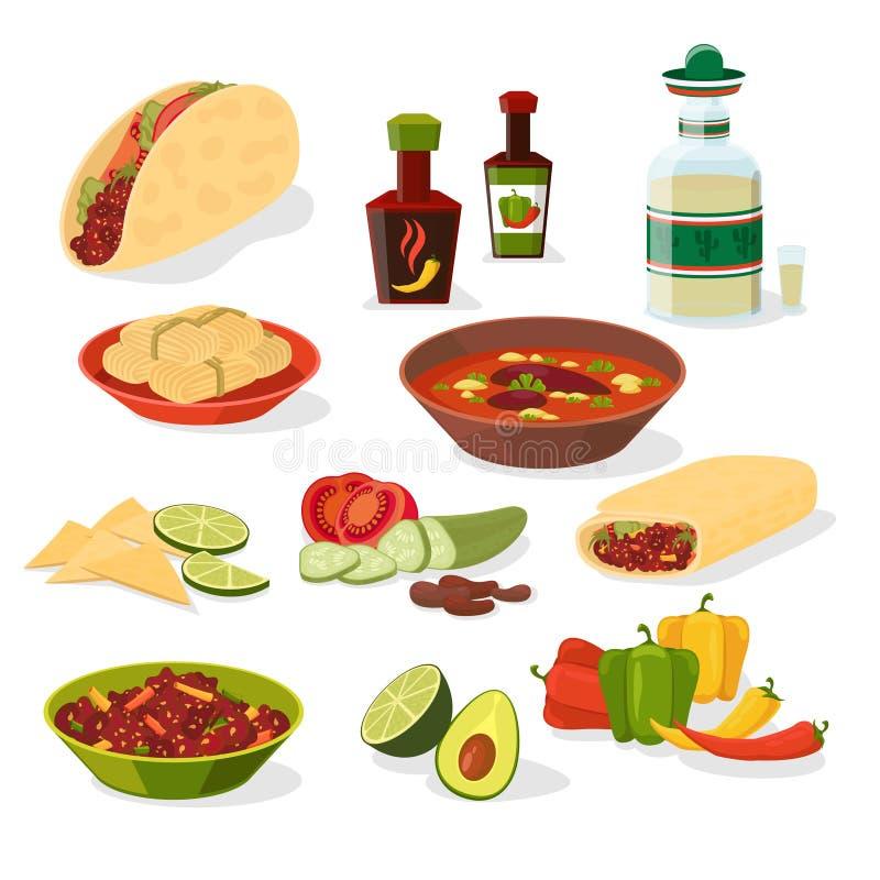 Meksykańskie karmowe ikony ustawiać ilustracji