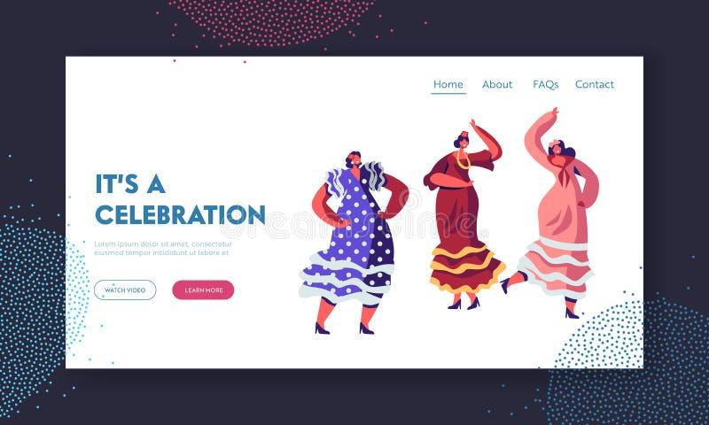 Meksykańskie kobiety Tanczy przy Cinco De Mayo festiwalem lub Hiszpania czarodziejką w Tradycyjnych Kolorowych sukniach Łaciński  royalty ilustracja
