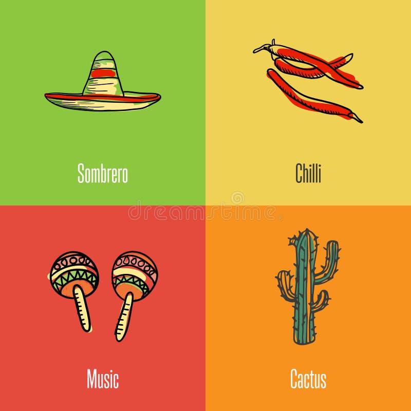 Meksykańskie Krajowych symboli/lów Wektorowe ikony Ustawiać ilustracji