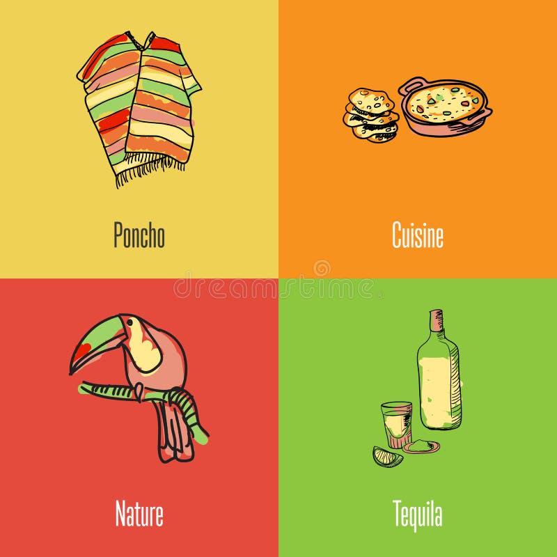 Meksykańskie Krajowych symboli/lów Wektorowe ikony Ustawiać ilustracja wektor