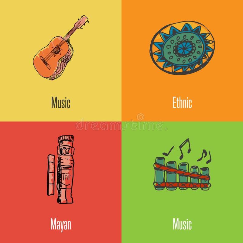 Meksykańskie Krajowych symboli/lów Wektorowe ikony Ustawiać royalty ilustracja