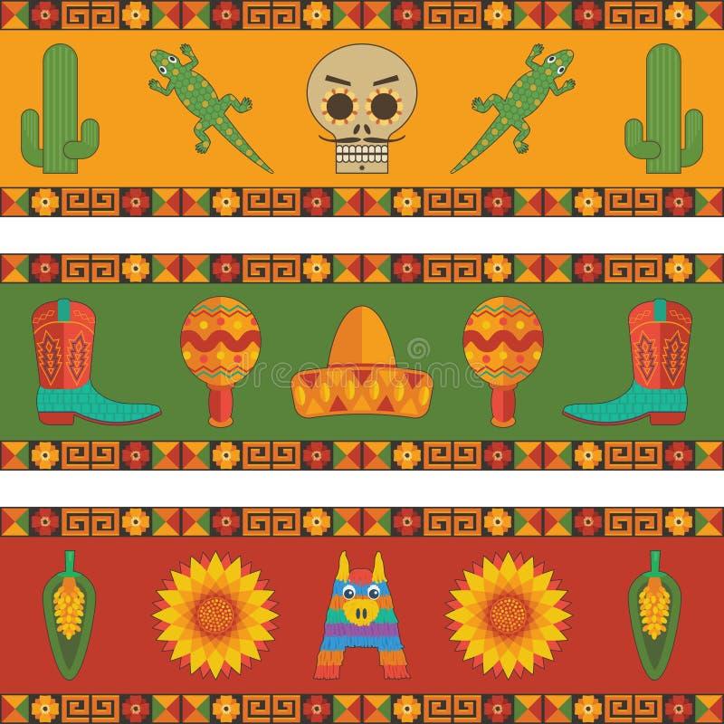 Meksykańskie sztandar dekoracje ilustracja wektor